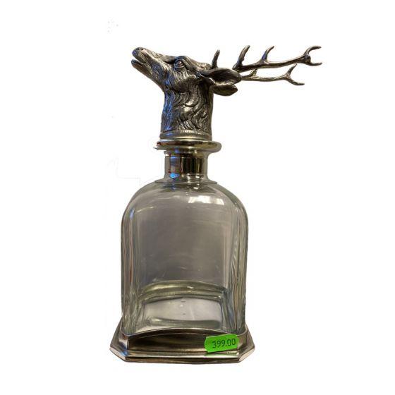 Dramflaske med prop af hjort