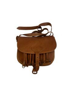 Fritzmann patrontaske i cognacfarvet sadellæder