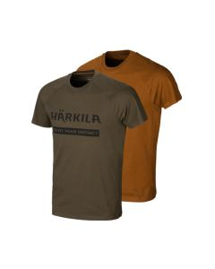Härkila logo t-shirt 2-pack Willow green/Rustique clay