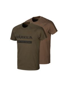 Härkila logo t-shirt 2-pack Willow green/Slate brown