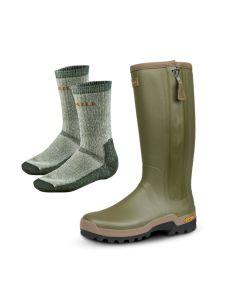 "Härkila Orton Zip Boot 18"" 3 mm neopren gummistøvle inkl. gratis Härkila Expedition sokker"